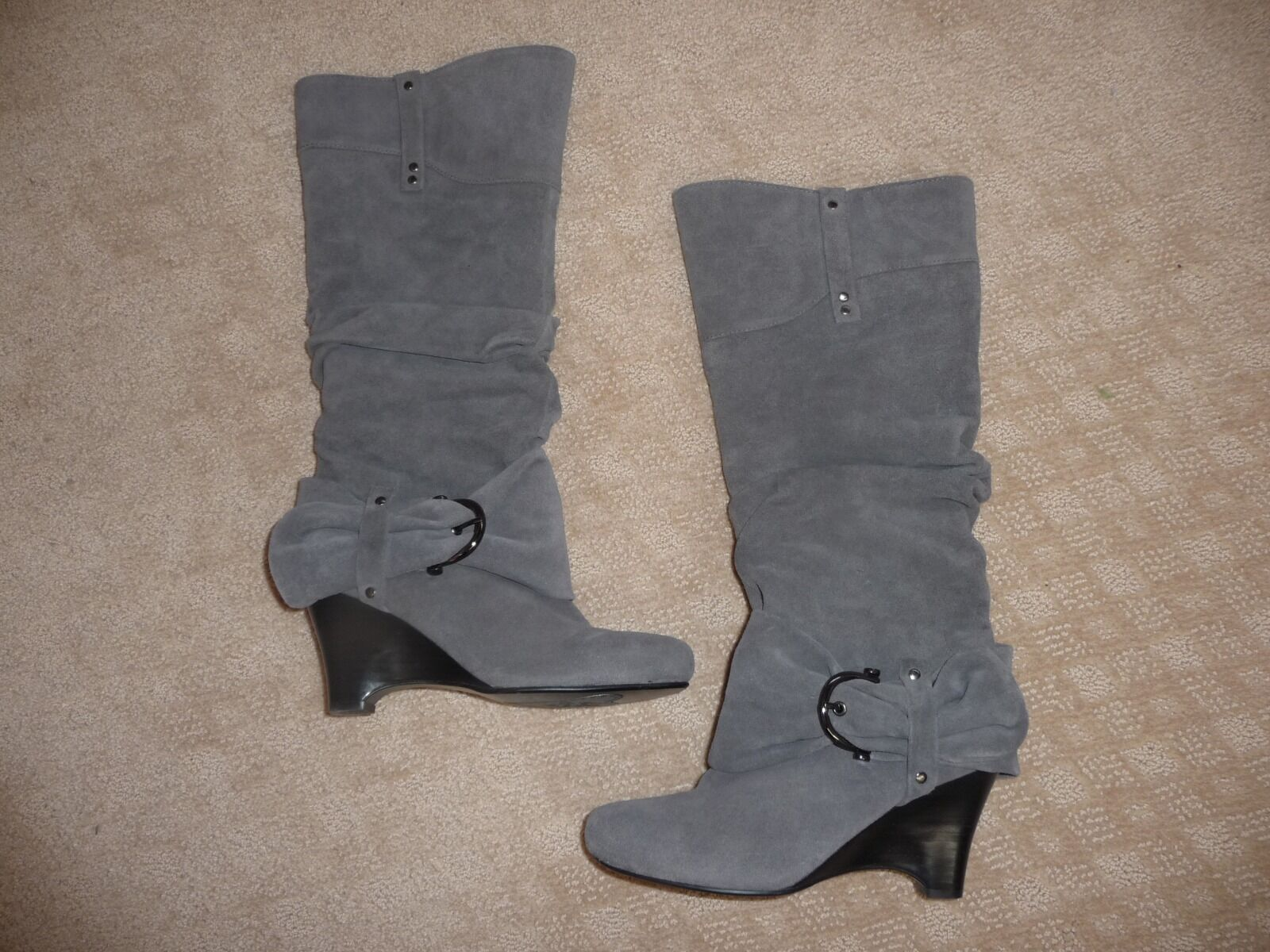 Suede Boots, Grey, Tall, Size 6. Wedge Heel & side zipper