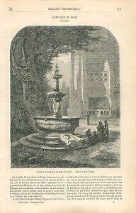 Eglise-paroissiale-Saint-Jean-Baptiste-la-fontaine-Finistere-GRAVURE-PRINT-1863