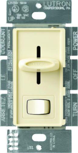 Lutron Skylark SELV-300P-AL ALMOND Single Pole 300W Preset Light Dimmer Switch