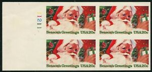 "Purposeful #2064a ""20¢ Xmas Greetings"" Imperf Pl # Block Of 4 Xf Og Nh Bt9688 Stamps"
