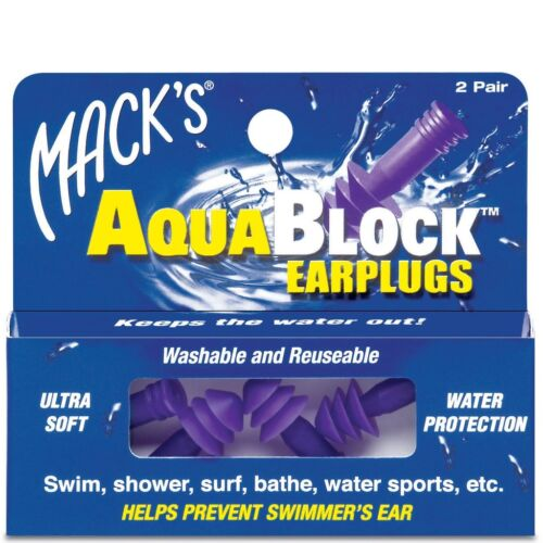 2 pair Mack/'s AquaBlock Earplugs Purple