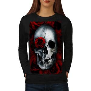 Wellcoda Skulls Rose Flower Womens Long Sleeve T-shirt, Biker Casual Design