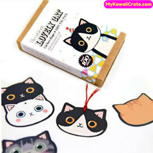 100 Pc Lovely Cat Gift Tags Pack Cute Cats Stationery Bookmark Cat