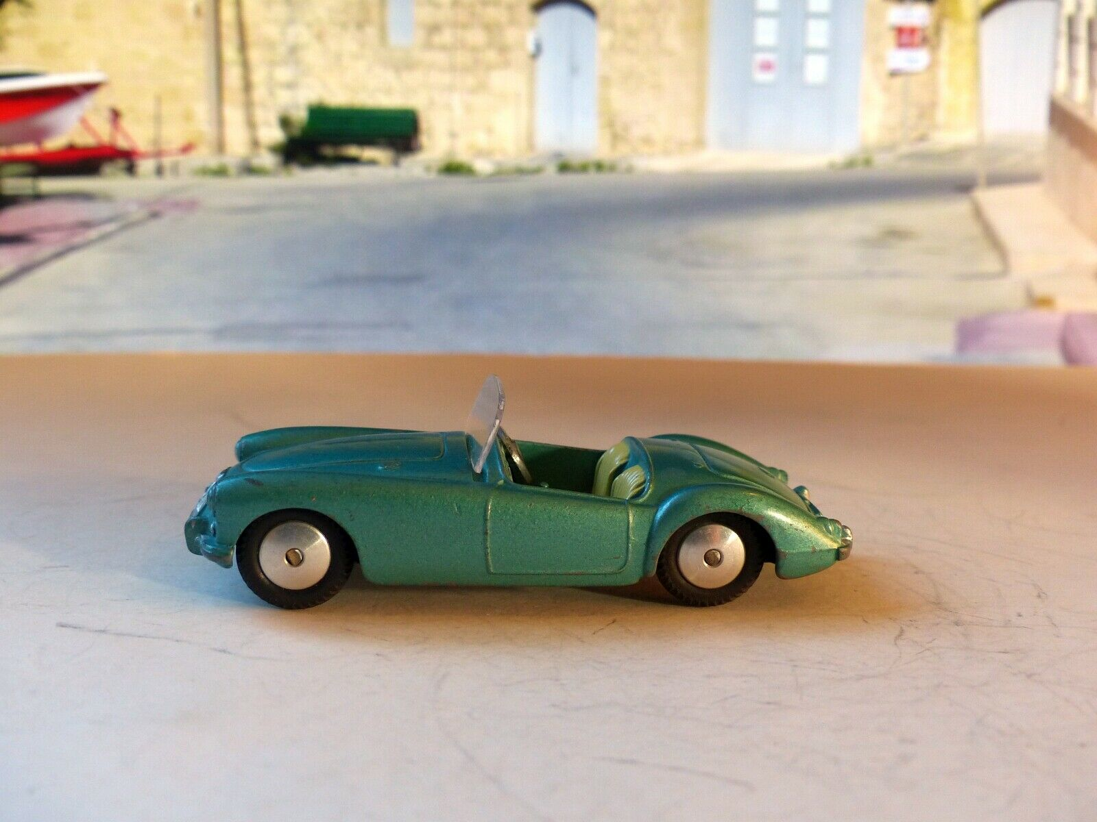 Corgi Toys 302 MGA in pale metallic green with yellow seats