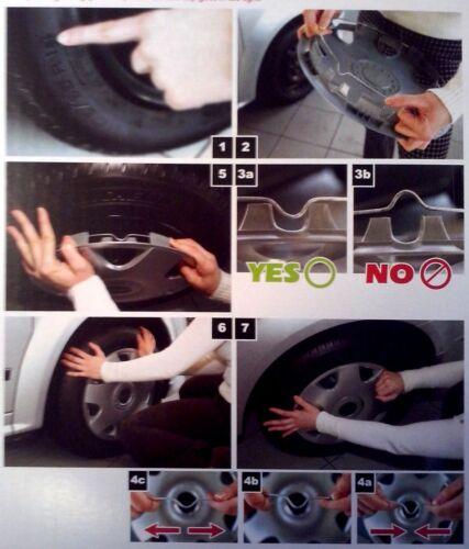 4 Copricerchi auto universali coppa ruota 15 pollici borchie GORECKI GIGA black