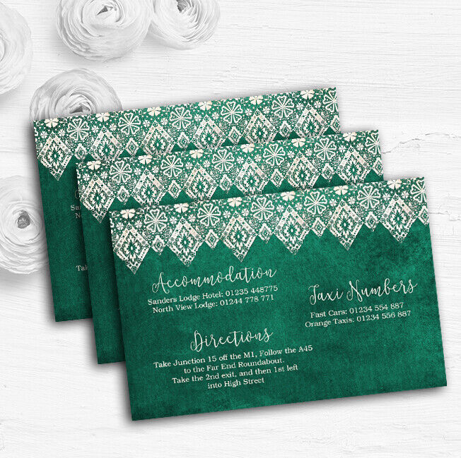 Teal Grün Old Paper & Lace Effect Personalised Wedding Guest Information Cards