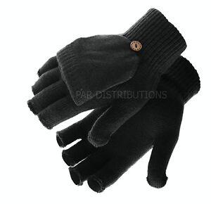 Black Thermal Ladies Mens Gloves Mittens Fingerless Flap Thermal Winter 2  In 1   eBay