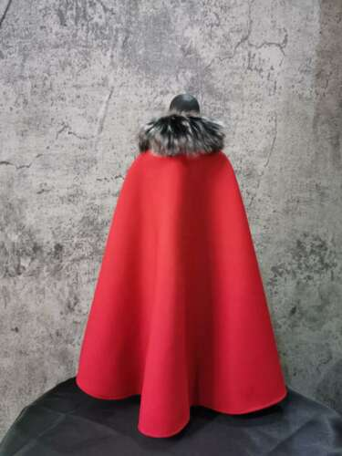 """1:6 Figure Accessory Red With Fur Collar Cloak Cape For 12/"""" Male Figure Doll Toy"""
