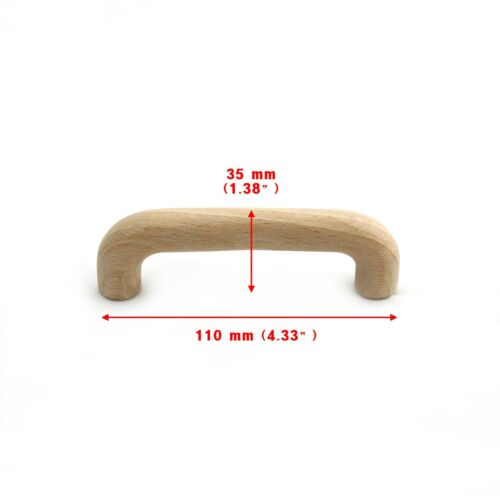 H096012 Wooden Unfinished 96mm Cabinet Drawer Pulls Handle Cupboard Hardware