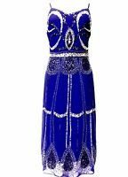 Blue Vintage 1920s Flapper Gatsby Downton Abbey Fringe Beaded Dress Size 8-20