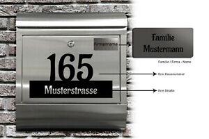 Details Zu Edelstahl Briefkasten Design Mit Gravur Namenschild Aufkleber Hausnummer Xl