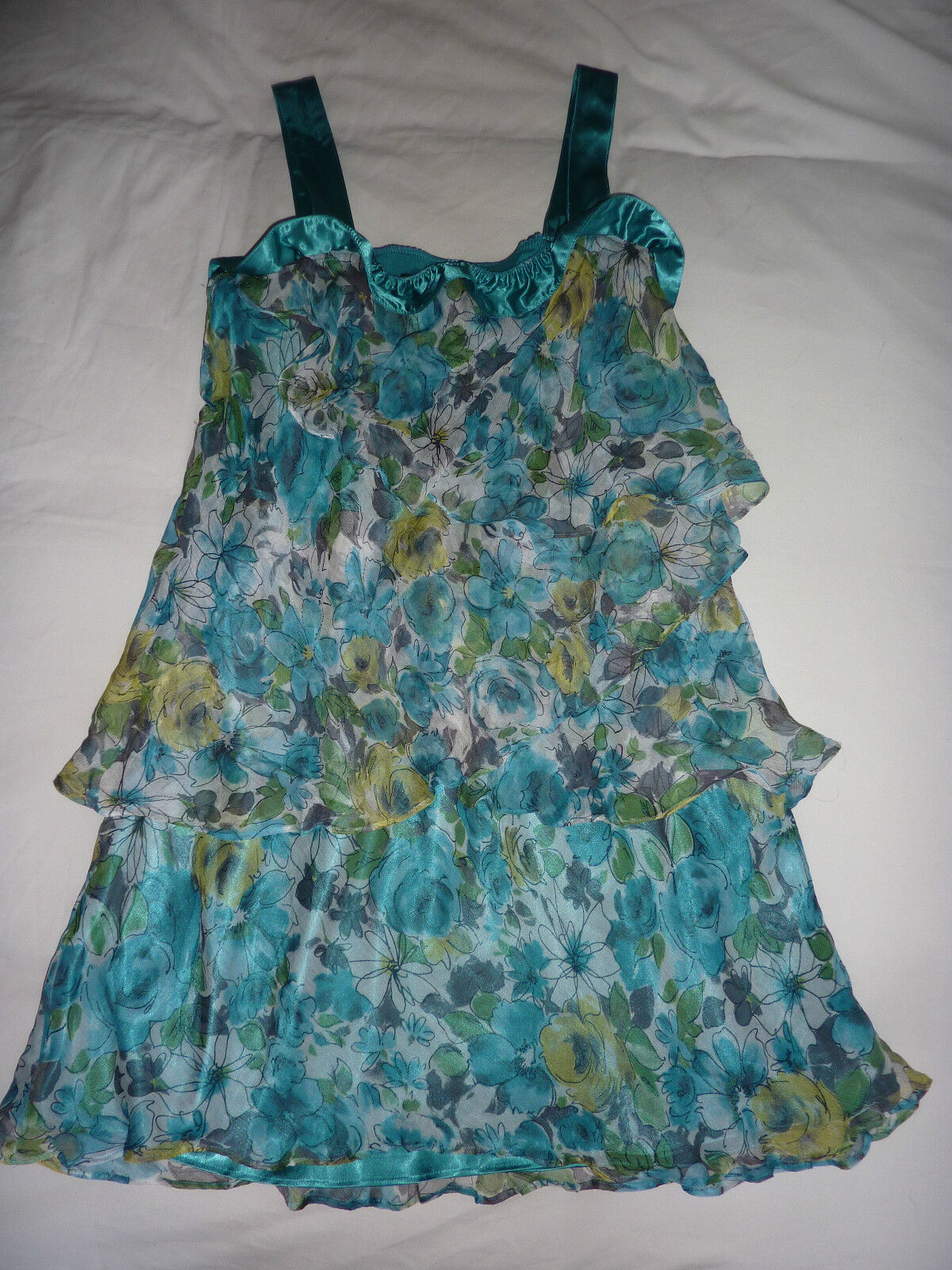 Hobbs turquoise layered, strappy, sleeveless, flowery silk dress. Size 14
