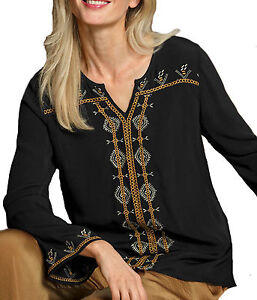 Uk-Size-8-34-Ladies-Black-Blouse-Tunic-Top-with-Mustard-and-Gold-Embroidery
