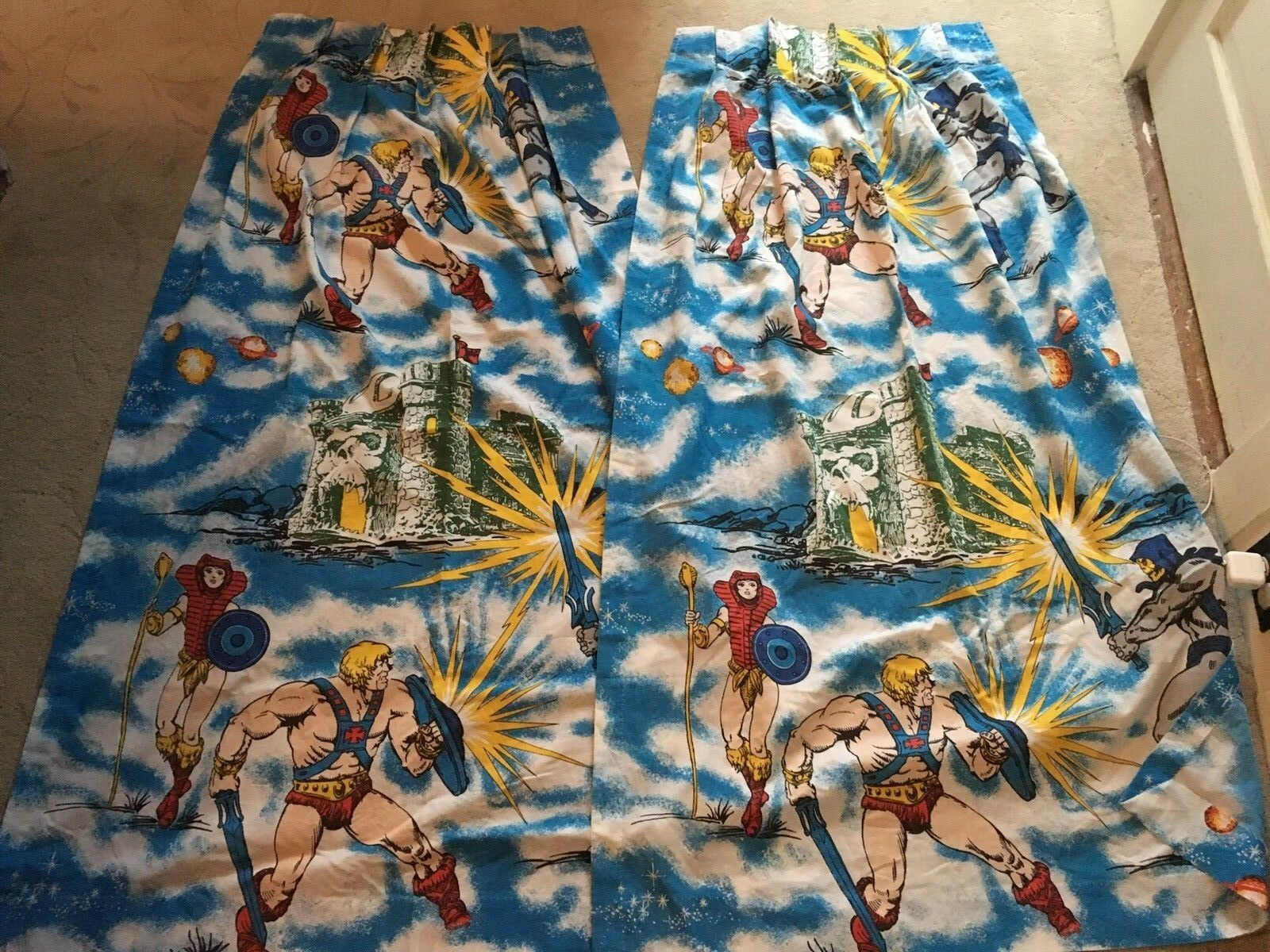 Vintage 1983 He-Man Masters of the Universe MOTU Curtains Drapes 2 Panels CLEAN