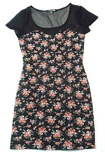 Forever-21-Womens-Bodycon-Dress-Size-Medium-Floral-Flowers-Short-Sleeve