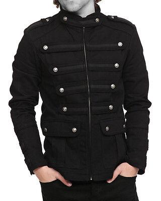 Mens Gothic Military Band Jacket Black Gothic Steampunk Jacket Goth Vintage Coat