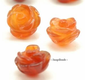9X8MM  RED AGATE GEMSTONE  CARVED ROSE FLOWER 9X8MM LOOSE BEADS 10 BEADS