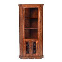 Jodhpur Solid Sheesham Indian Furniture Corner Display Cabinet Stand Unit