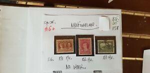 LOT-OF-3-NEWFOUNDLAND-USED-1928-STAMPS-NO-WMK-G-U-F-U