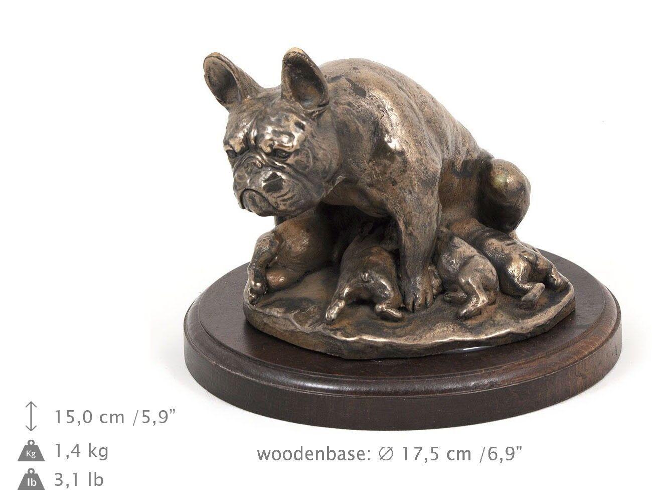 Bulldog francés 2, busto estatua del perro en una base de madera ES