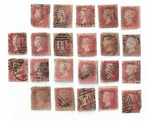 UK-Queen-Victoria-Penny-Red-stamps-x-22-All-damaged-Batch-5
