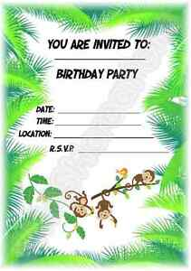 A5 CHILDRENS KIDS PARTY INVITATIONS X 12 JUNGLE