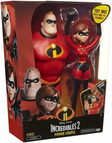 "NEW Jakks Disney Pixar Incredibles 2 Power Couple 12/"" Mr Incredible Elastigirl"