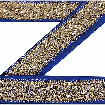 Latest Collection Of Sanskriti Vintage Sari Border Craft Blue Trim Hand Embroidered Sewing Lace