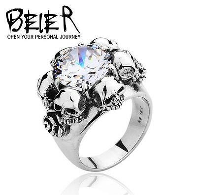 Cool Punk Gothic Rock Roll Man's Stainless Steel Ring - gemstone rose skull