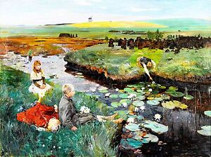 PAINTING-LANDSCAPE-CHILDREN-PLAY-STREAM-LILY-WINDMILL-ART-POSTER-PRINT-LV2641