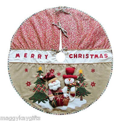Large Rustic Christmas Tree Skirt Mat Apron Decoration
