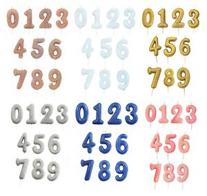 GLITTER NUMBER CANDLES - Birthday Party Cake All Ages Coloured Numeral Boy Girl
