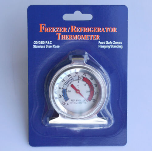 2x Stainless Steel Dail Thermometer for Refrigerator Fridge Freezer New