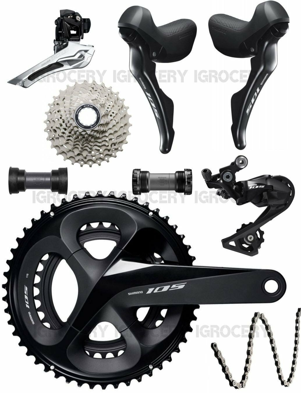 Shimano 105 R7000 Groupset 2x11-speed Road Bike 7Pcs Mechanical New (52 36T SS)