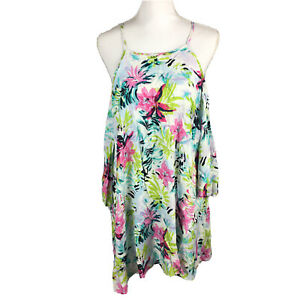 Bar III NWT Womens Size Small Cold Shoulder Floral Flowy Blouse Swim Cover Up.AD