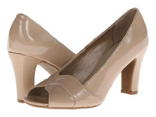 Life Stride Catie open toe pumps sandals taupe patent 3.5   heels sz 8.5 Med NEW