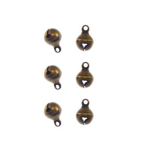 Rétro Bronze Laiton 8*8mm small bell Look Pendentif Charms Bijoux Artisanat 98pcs//lot