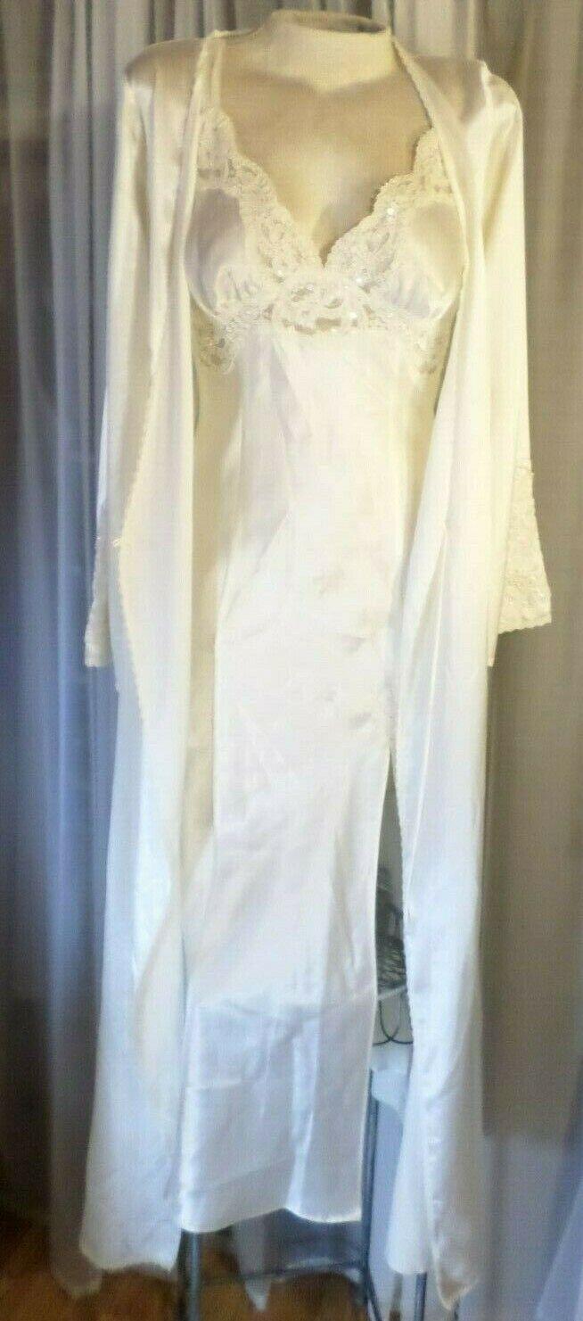 NEW Long Nightgown Robe Set Ivory Victoria Secret Gown Lady Medium M Cream Sequi