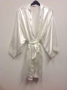 S2 Ex Store Ivory Bridal Satin Kimono Dressing Gownrobe Uk Sizes 8