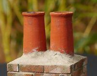 2 1:12th Real Brick Cherry Chimney Pots