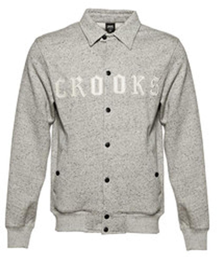 Crooks And Castles Herren Strick Collenglish Baseball Jacke Meliert Grau Weiß