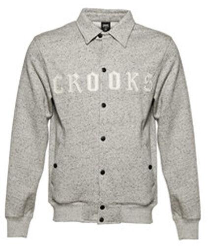 Crooks And Castles Homme Tricot collenglish blouson de base-ball tacheté gris blanc