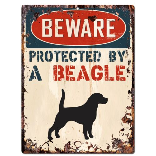 PP2101 BEWARE PROTECTED BY A BEAGLE Rustic Plate Chic Sign Home Door Decor