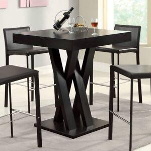 Dark Brown High Pub Criss Cross Legs Pedestal Dining Table Home - 36 high pub table