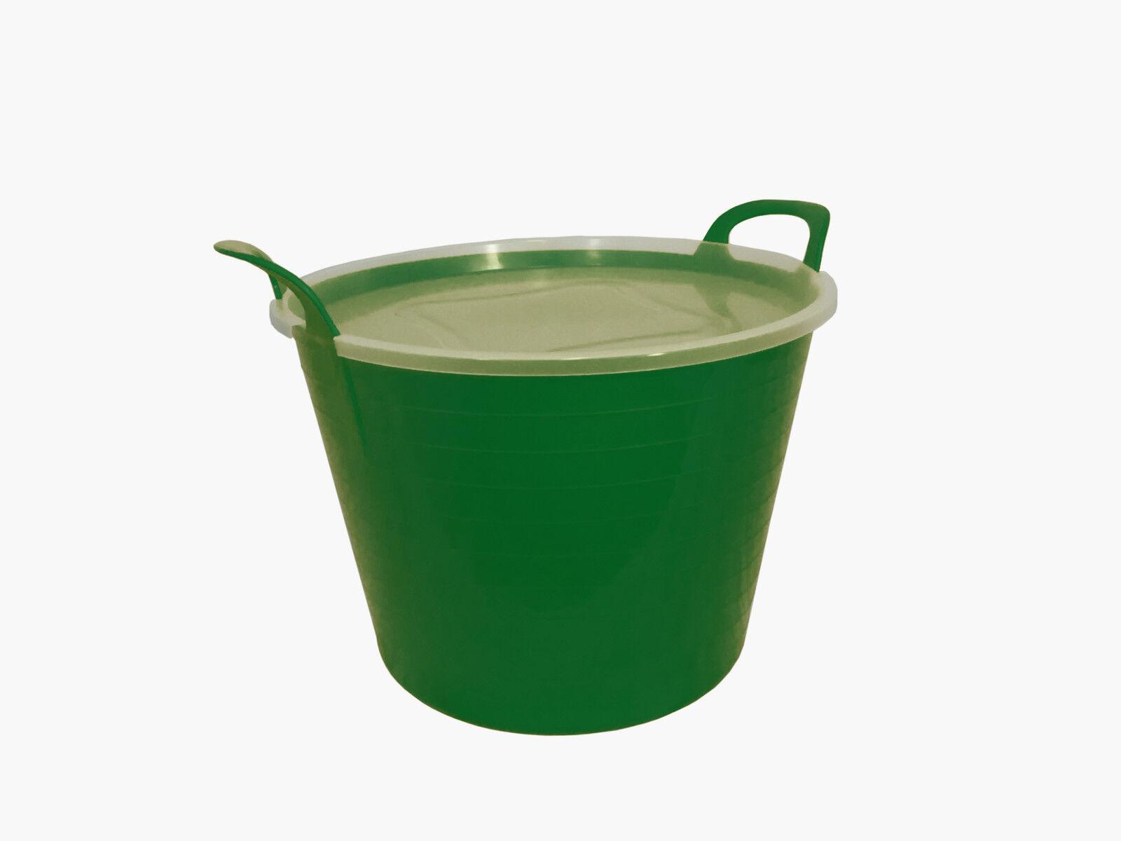42L green Flexi Tub complet avec couvercle, couvercle, couvercle, stockage seau Trug, flexible, conteneur d10166