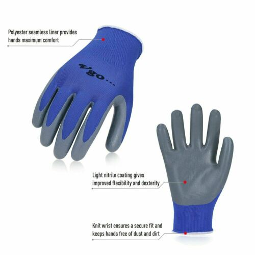 Size L,Blue,NT2110 Vgo 10 Pairs Nitrile Coating Gardening and Work Gloves