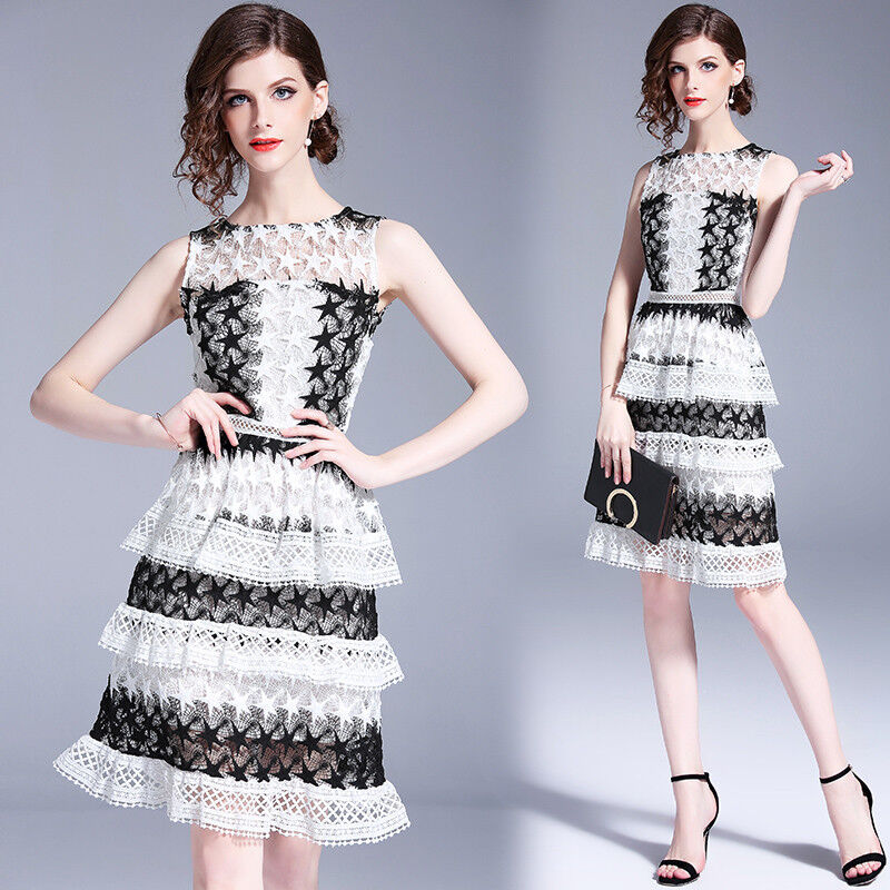 New Womens Fashion Temperament Sleeveless Dress Lace Hollow Out Out Out Outwear 31619d