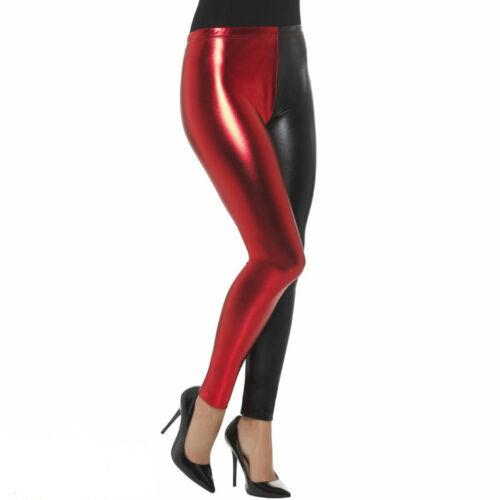 Women/'s Footless Two Toned Harley Quinn Metallic Yoga Leggings Pants Tights 8-26