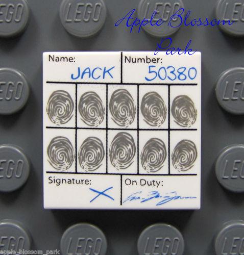 ☀️NEW Lego City Minifig POLICE SIGN 1x2 PRINTED TILE  White w// Blue Symbol Print
