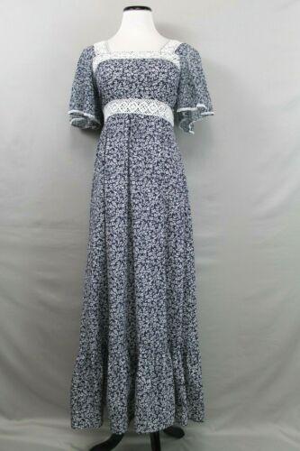 Vintage 1970s Prairie Maxi Dress Cotton Calico Pri
